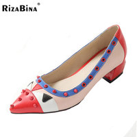 Rizabina size 32-48 new high heel shoes spring women sexy rivets pumps footwear fashion mid heel point toe shoes P23305