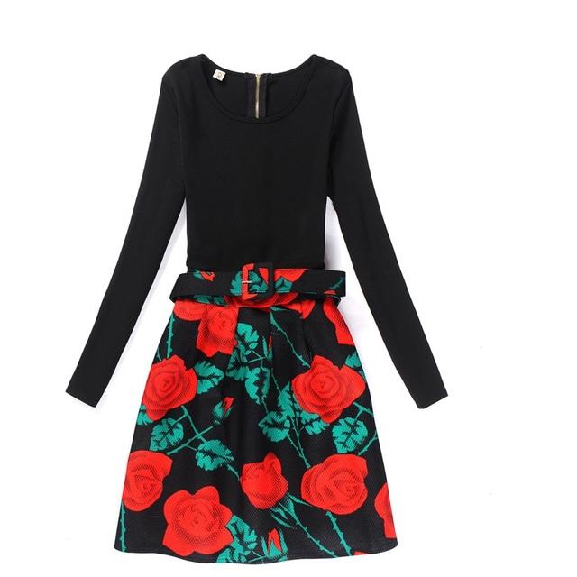 Nova moda primavera outono inverno grosso dress luva longa das mulheres do partido da cópia do vintage vestidos casuais vestidos escritório dress belt