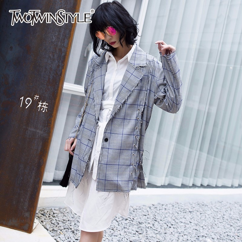 TWOTWINSTYLE Autumn Homemade Costumes For Women's Blazer Female Coat Tassel Side Metal Ring Plaid Women Basic Coats Clothes Tide