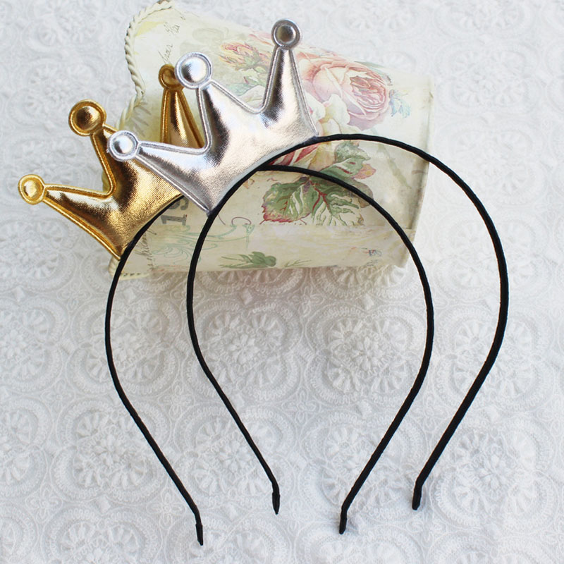 Little Gold and Silver Crown Princess Headband Sweet Girls Cute Headwear PU Surface Crown Tiara Hairbands Gift Hairband the silver crown