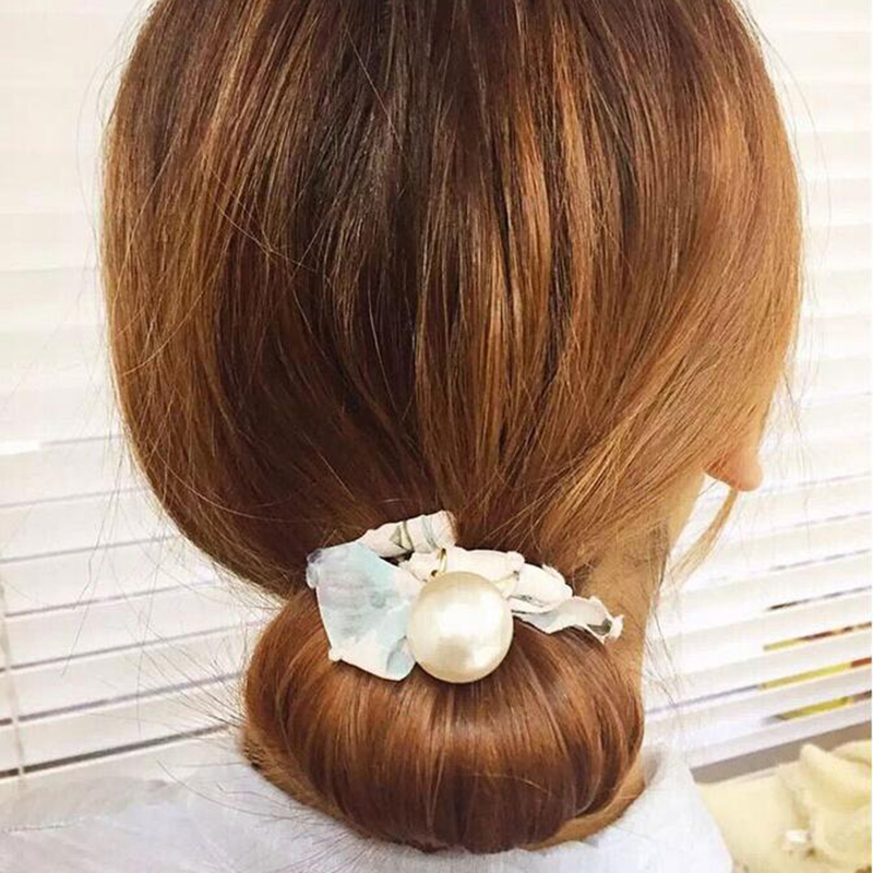 Fashion 1PC Pearl Buterfly Print Crystal Hair Bands Graceful High Quality Cloth Head Band Hair Rope Accessories