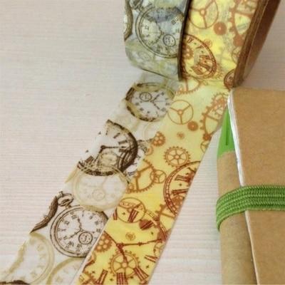 Beautirul 15mm*10m High Quality  Washi Paper  Tape/Vintage  Clock And  Clock Gear Wheel  Masking  Japan Washi Tape