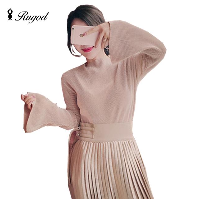 Sexy elegante slim mujeres de la camiseta tee femme manga flare champán Tops Géneros de Punto de Tocar Fondo Camisetas de Alta Calidad 2016 Nuevo Arival