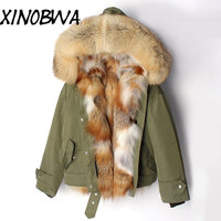 Winter Women Big Real Luxurious Fox Fur Hooded Thick Warm Army Green Coat Jackets Female Big Real Fox Lining Outwear Lingerie