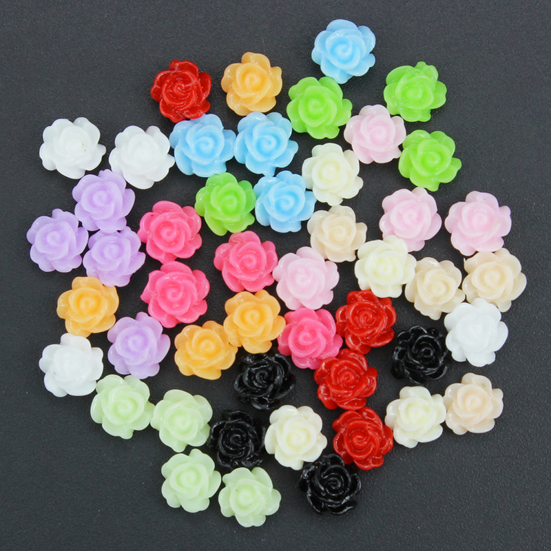 Blueness 50pcs Glitter Acrylic 3d Nail Art Design Decoration Supply 12color Plastic Flower Manicure Stud Pj207 Pj218 In Rhinestones Decorations