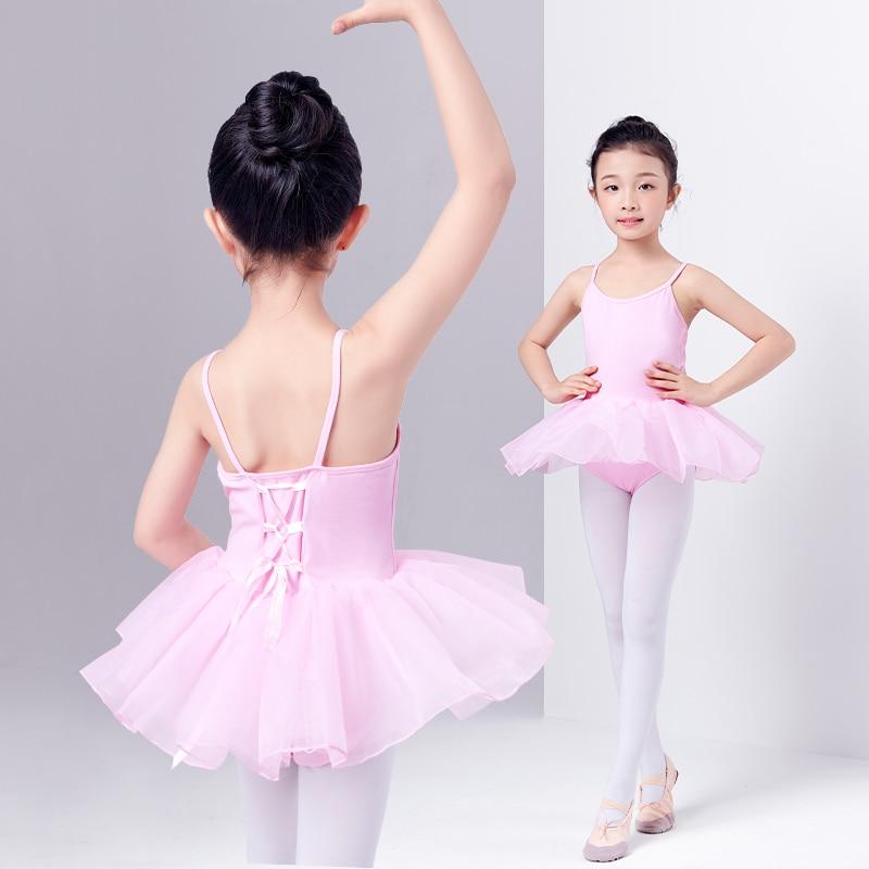 New Summer Sleeveless Ballet Tutu Dress Baby Girl Slip Dress Children Kids Pink Dance Princess Dress Cross Back With Ribbon