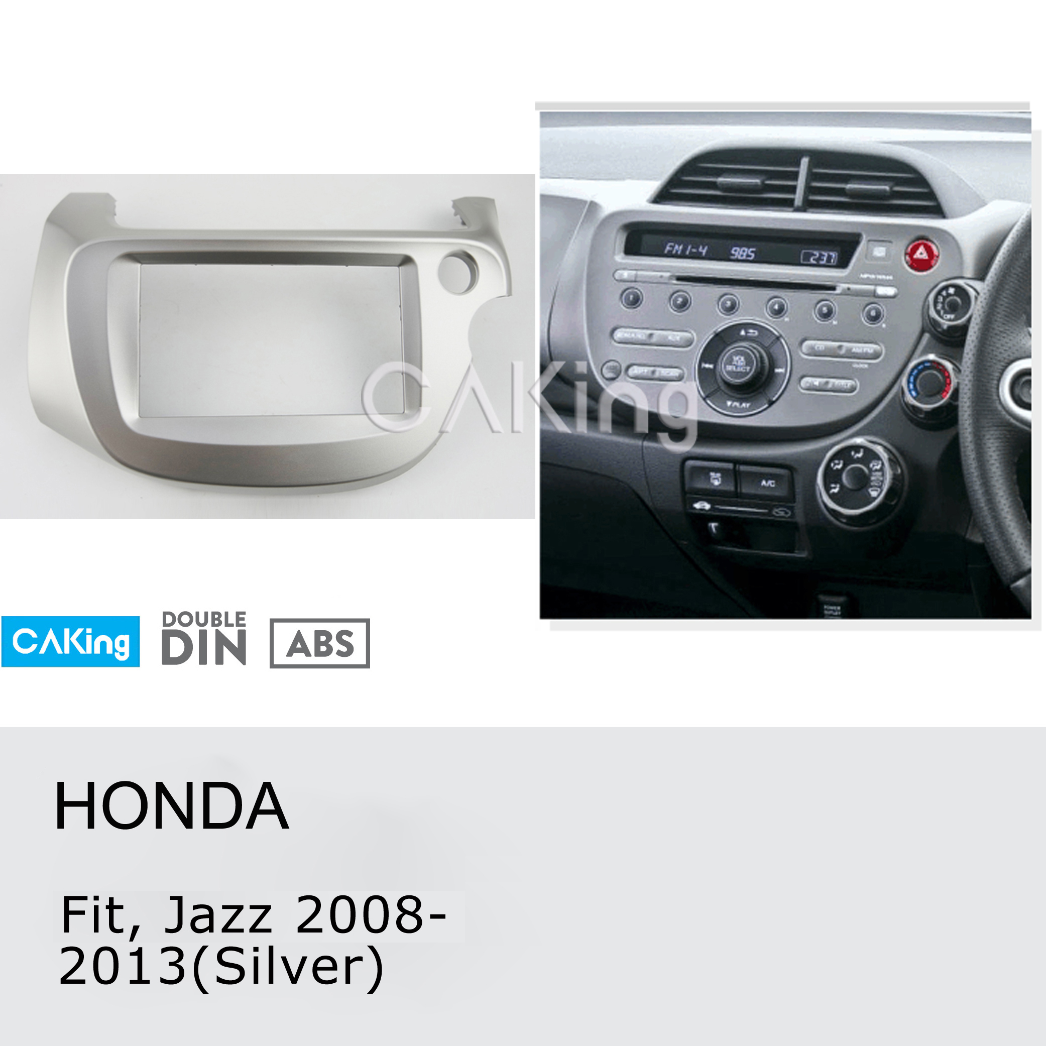 2DIN Car Fascia Radio Panel for Honda Fit Jazz 2008 2013 Right Wheel Silver Dash Fitting