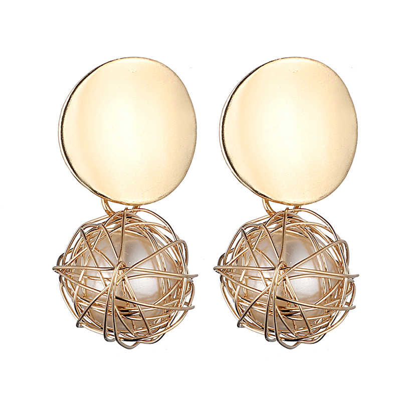 LOVBEAFAS Statement Earrings 2019 Fashion Ball Geometric Earrings For Women Handmade Jewelry Wire Wrap Pearl Drop Dangle Earring