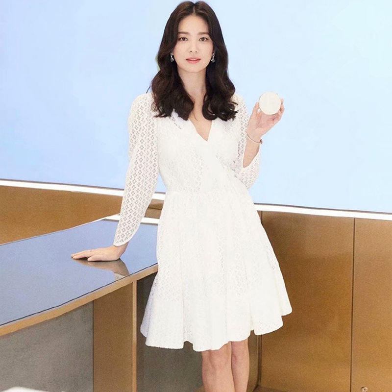 2019 Dress Sexy Song Hye-kyo Celebrity Hollow Out V Neck Women White Full Lace Night Club Body con Party Dresses Wholesale image