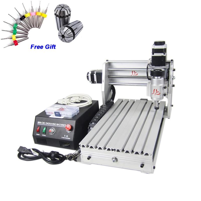Freeshipping fr UK CNC 3020 Z-DQ Mini Engraving machine for wood PCB,ball screw CNC router 3020Z-DQ 3 axis with tool  bits 30pcs Числовое программное управление