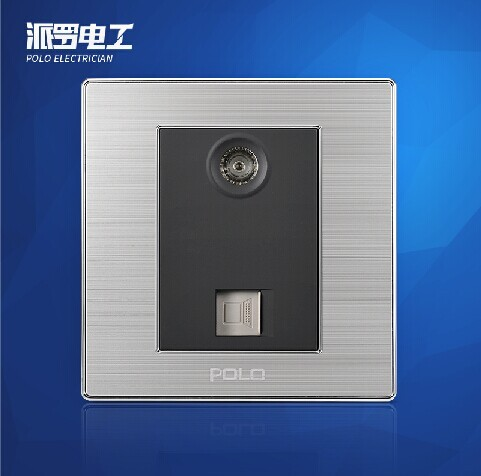 Free Shipping, POLO Luxury Wall Light Switch Panel, TV+COM Socket, Champagne/Black, Electric Socket, 10A, 110~250V, 220V