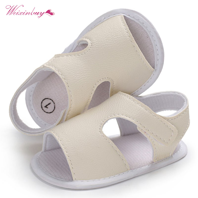 Summer Baby Boys Shoes Solid PU First Walkers Soft Sole Sneakers Hook Loop Crib Footwear Newborn Infant Beach Shoe