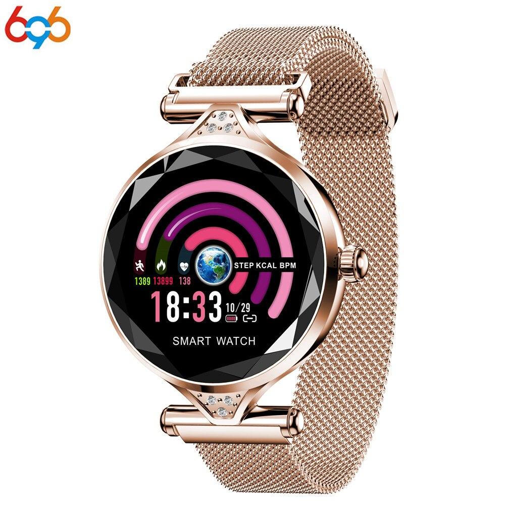 696 H1 femmes Bracelet intelligent Fitness Tracker moniteur de fréquence cardiaque Bracelet pression artérielle caméra métal bande intelligente cadeau pour dame