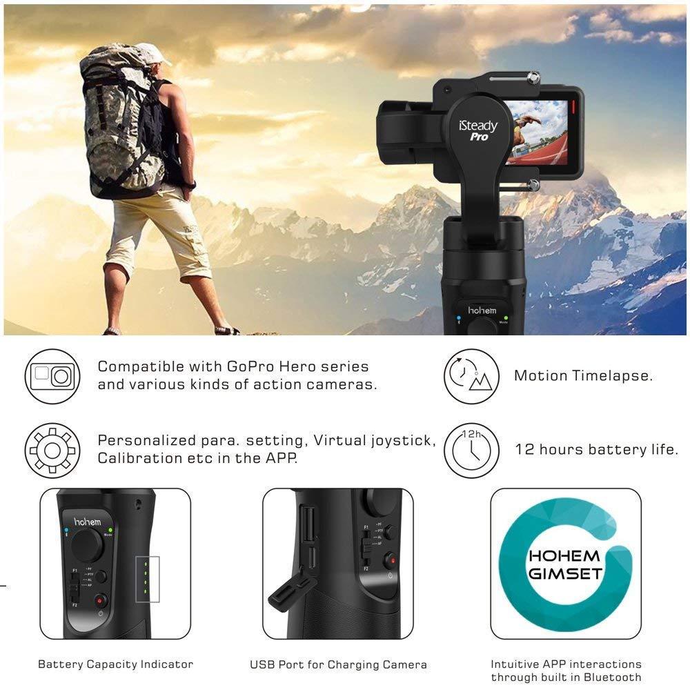 Hohem iSteady Pro 3-Axe stabilisateur de cardan pour GoPro Hero 7 6 5 4 3 Yi 4 K, caméra d'action RXO AEE SJCAM, 3-Axe GoPro Cardan - 3