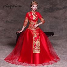 Bride Qipao 2019 Chinese Wedding Dress Red Long Cheongsam Gown Embroidery Oriental Style Dresses Traditional Evening Robe Rouge