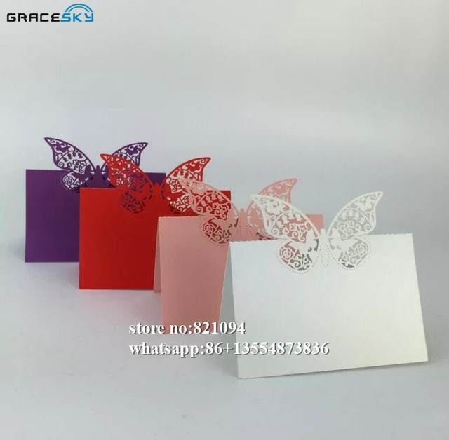 50Pcs Lot Laser Cutting Butterfly Design Seat Name Cards Wedding Birthday Party Invitation Table