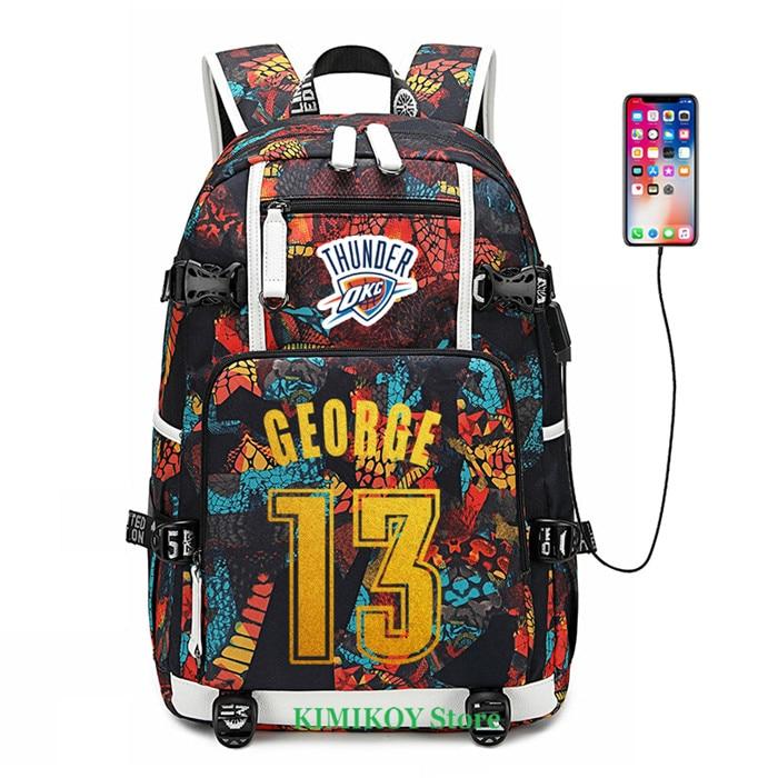 Baketball Speler George Jordan Rose Westbrook Rugzak Schooltassen USB Opladen Laptop Waterdichte Reistassen Hoge Capaciteit-in Rugzakken van Bagage & Tassen op  Groep 1