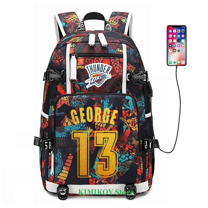 Bagaj ve Çantalar'ten Sırt Çantaları'de Basketbol Oyuncu George Ürdün Gül Westbrook Sırt Çantası Okul Çantaları USB Şarj Laptop Su Geçirmez Seyahat Çantaları Yüksek Kapasiteli'da  Grup 1