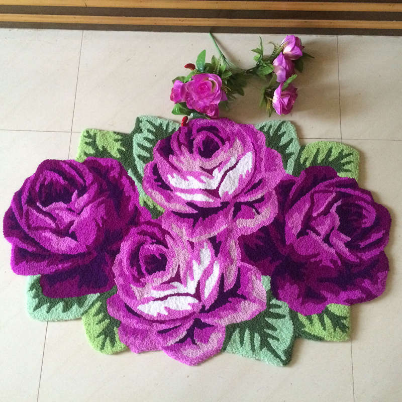 Free shipping high quality hand woven 4 roses art rug carpet 3D for bedroombedside pink rose