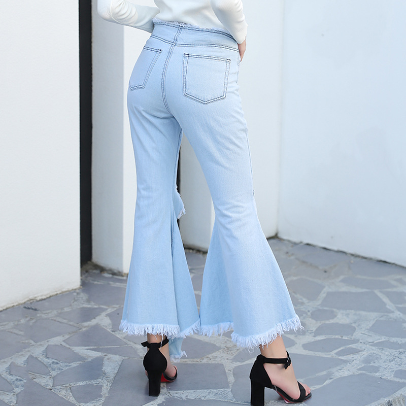 Jeans and Women's Autumn New Style 2019 European Stand Personality Asymmetric Rough-edge Stretch-fit Horn Jeans Women