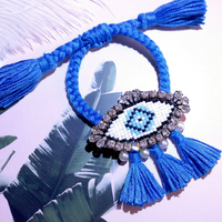 fashion design candy color puzzle handmade crystal beaded rope lace up tassel charm bracelet cuff women hand party accessories