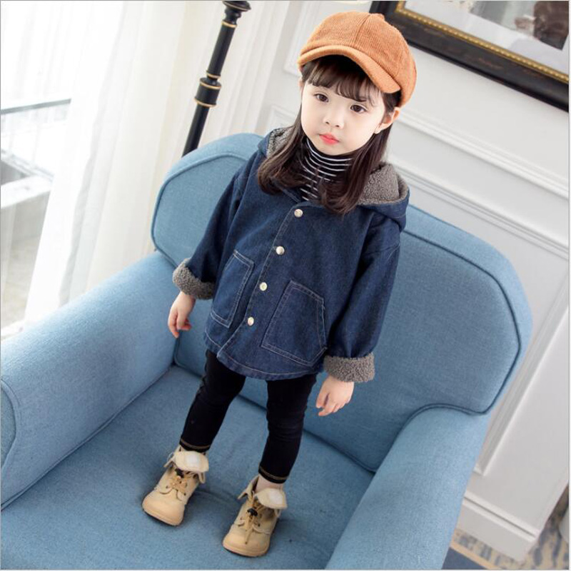 Baby girl clothes winter Plus velvet denim hooded long sleeve single-breasted coat casual jackets children's winter