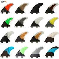 ISF Hot sale carbon fiber quilhas de surf honeycomb fcs surfboard fins thruster pranchas de sup fins surf fins G5