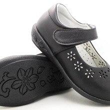 Школьная обувь для девочек; сезон весна-лето; черная обувь из кожи; ортопедическая обувь с вырезами в виде цветка и сердца для крупных детей