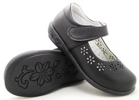 Girls School Shoes Spring Summer Black Action Leather Arch Support Orthopetic Flower Heart Cutouts For Big