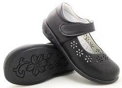 Meninas sapatos de escola primavera verão preto ação couro arco apoio ortopético flor coração recortes para crianças grandes fromal