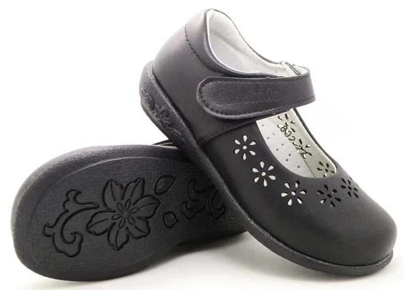 girls school shoes spring summer black action leather arch support orthopetic flower heart cutouts for big kids children fromal