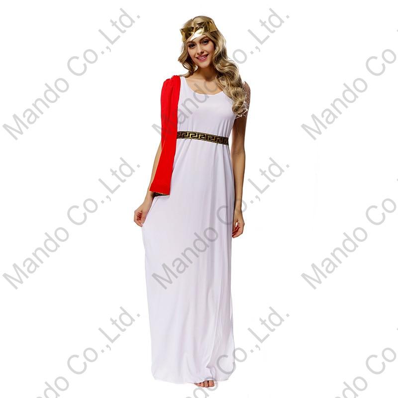 Girls Masquerade party costume Dresses Adult Women Sexy Greek goddess Athena cosplay costume halloween fancy dress 3pcs