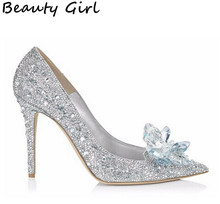 New Women Pumps Crystal Wedding Shoes Pointed Toe High Heels Cinderella Shoes Rhinestone Butterfly Heels Shoes Woman B-0025