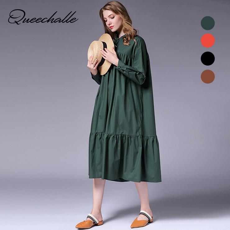 Queechalle L - 4XL Plus Size Shirt Dress for Women Fashion Ruffles Hem A-line Dress Female O neck Long Sleeve Loose Dresses