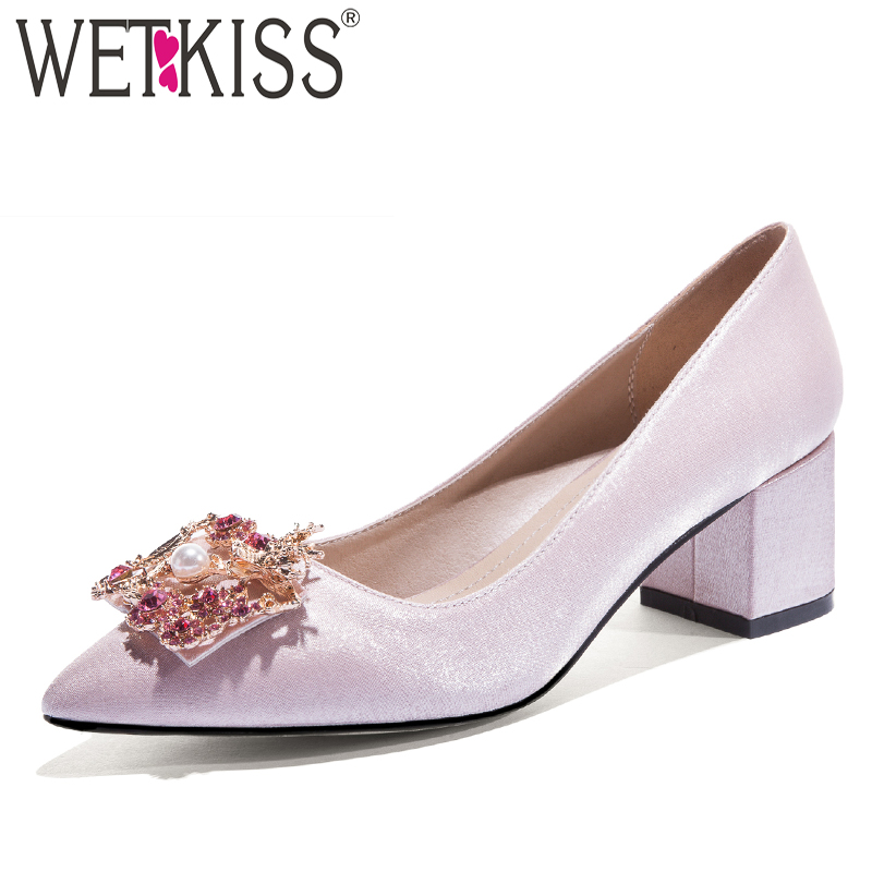WETKISS Thick High Heels Pumps Women Pointed Toe Footwear Shallow Satin Shoes Female Pearl Wedding Shoes
