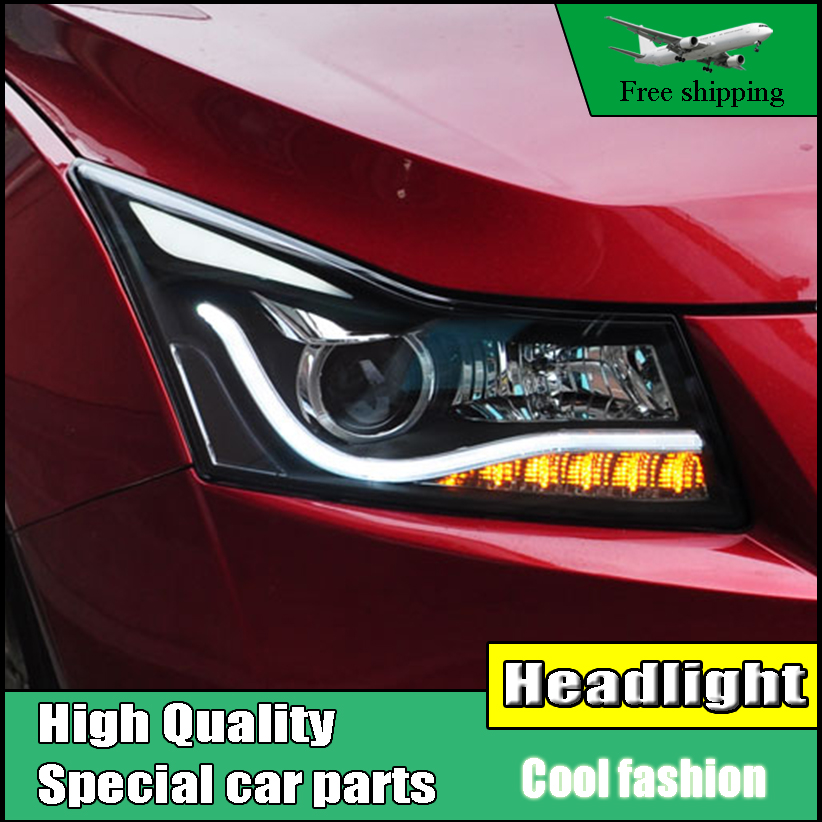 Car Styling Head Lamp For Chevrolet Cruze Headlights 2009-2014 LED Headlight DRL Q5 Bi Xenon H7 hid Bi-Xenon Lens low beam hireno headlamp for 2016 hyundai elantra headlight assembly led drl angel lens double beam hid xenon 2pcs