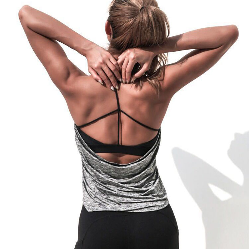 Women Sport Shirts Yoga Top Fake Two Pieces Sleeveless