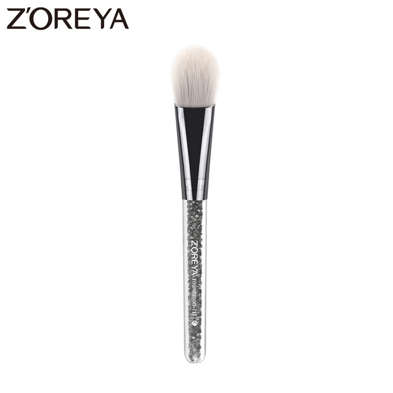 Zoreya Brand  New artistic aluminium pipe with crystal Resin handle makeup brushes for Women Foundation Cosmetic brush tool 711 bosi tool 12 inch round pipe hacksaw frame with double color tpr handle