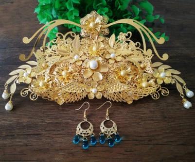 Phoenix coronet or mariage coronet vintage cheveux coronet fleur ancienne princesse cheveux accessoires mariée cheveux décoration