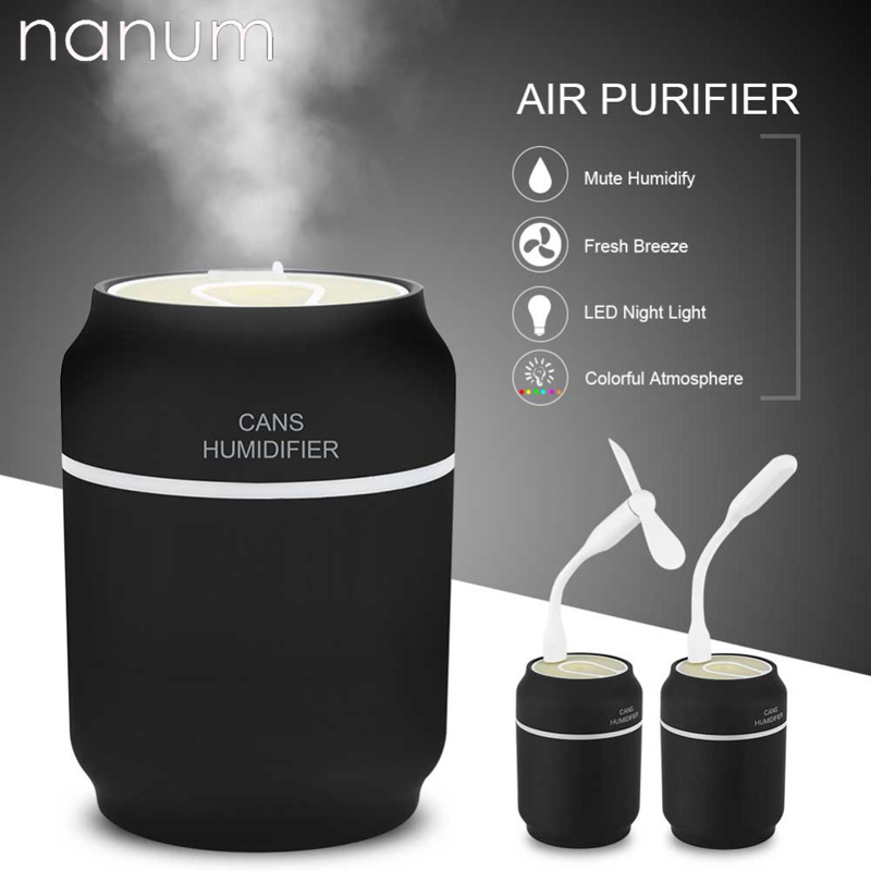 3 in 1 Aroma Essential Oil Diffuser Ultrasonic Cans Humidifier Air Purifier LED Night Light USB Fan Car air freshener for Office