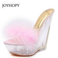 JOYHOPY Women Transparent Crystal Heel Sandals Summer Feather Platform High Heels Shoes Fashion Wedges Slippers Ladies WS1683
