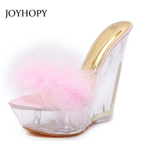 JOYHOPY Women Transparent Crystal Heel Sandals Summer Feather Platform High Heels Shoes Fashion Wedges Slippers Ladies WS1683