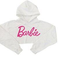 Young Girls Sweatshirt Harajuku Fashion Pink Letters Printed Sexy Crop Top Hoodies Women Punk Hip-hop Sweatshirt Short Style
