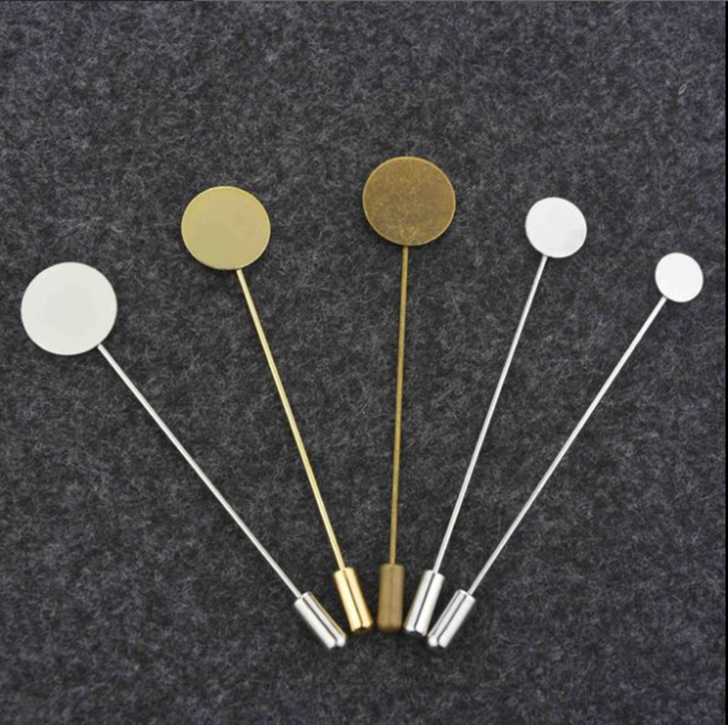 10pcs 10 15mm Silver Tone Round Blank Brooch Bases Tray Lapel Stick Brooch Safety Pin Needle For DIY Costume Jewelry Accessories