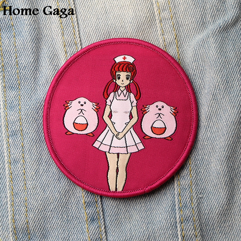 Homegaga pocket monsters Nurse joy Chansey Applique diy accessorry iron on patches para clothing backpack kids decorations D1868