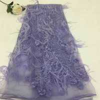 French Net Lace Fabric with feathers for favorite dress African lace Fabric Nigerian lace fabric with feathers HX344 2