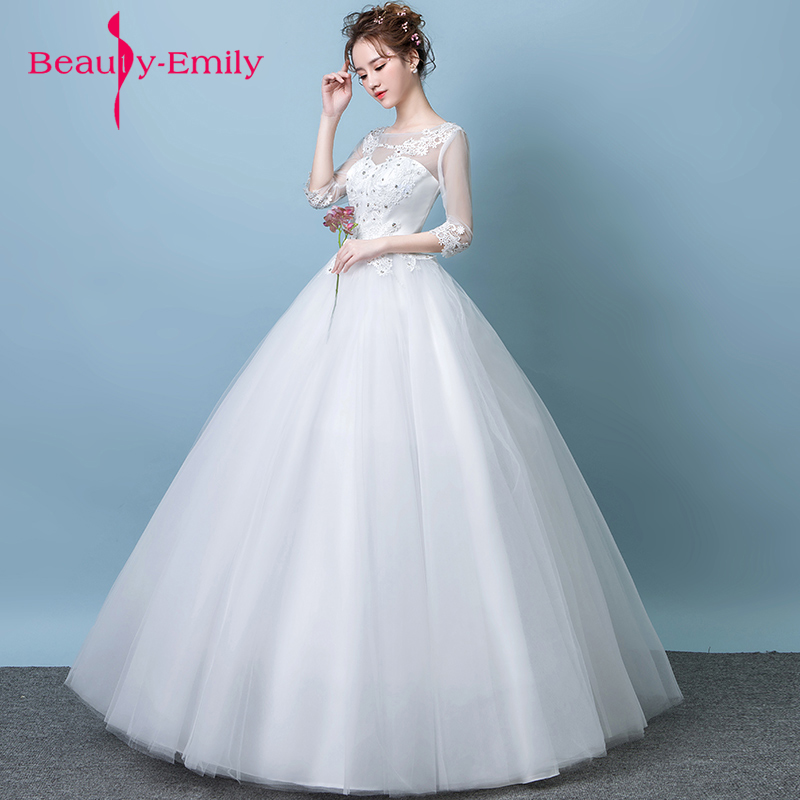 Exquisite embroidery tulle spring bridal dresses crystal decorated ...