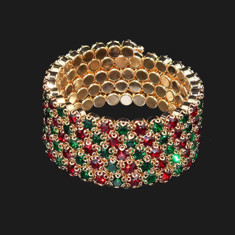 New Wedding Crystal Bracelet Bracelet Multi-row Ladies Gold Bracelet Crystal Elastic Bracelet Women Party Gift