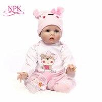 55cm Silicone Reborn Baby Doll Toys Lifelike Soft Cloth body Newborn babies bebes Reborn doll Birthday Gift Girls Brinquedos