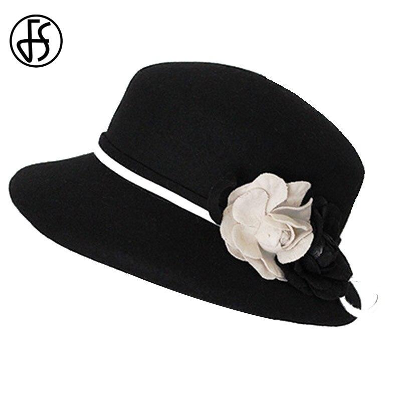 Image 4 - FS Womens Fedora Hats White Wide Elegant Brim Felt Cloche Hat Black Vintage Bowler Fedora Female Floppy Flower Lady Girls Autumn-in Women's Fedoras from Apparel Accessories